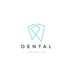Geometric dental logo icon line outline monoline vector