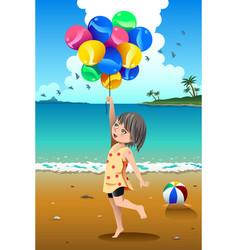 Girl holding balloons vector