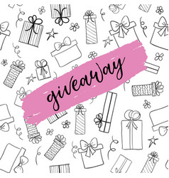 Giveaway card template for social media vector