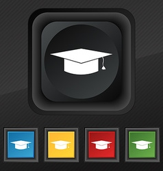 Graduation cap icon symbol Set of five colorful vector