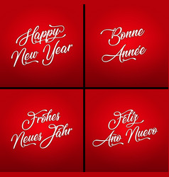 happy new year in multiple languages vector image