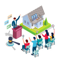 Home auction and bidding concept for web vector