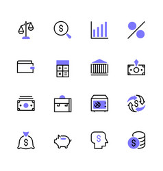 icon set money bank finance vector image