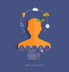 Idea incubator flat design concept template with vector image