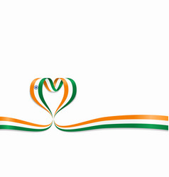 indian flag heart-shaped ribbon vector image