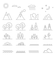 Landscape line elements vector