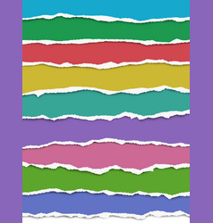Layered oblong torn different color paper vector