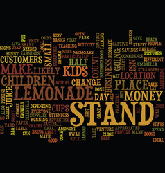 Lemonade stand text background word cloud concept vector