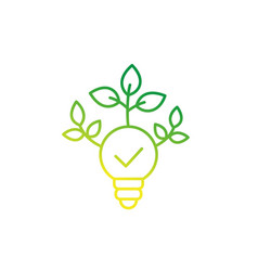 light bulb with green leaves line icon vector image