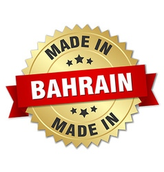made in Bahrain gold badge with red ribbon vector image
