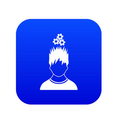 man with metal gears over head icon digital blue vector image