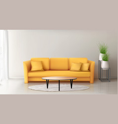 modern interior with yellow sofa vector image