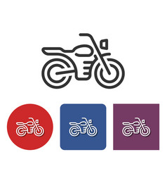 Motorcycle line icon in different variants vector