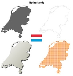 Netherlands outline map set vector