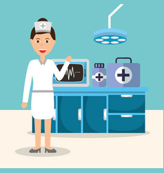 Nurse monitoring machine medicine pharmacy vector