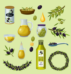 olives products cartoon icons set vector image