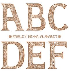 Paisley henna alphabet abcdef vector