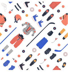 Pattern with ice hockey equipment vector