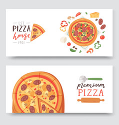 pizza house with ingredients and different types vector image