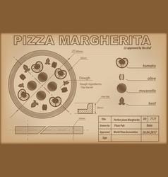 Pizza margherita ingredients draw scheme vector