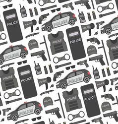 Police seamless pattern vector image