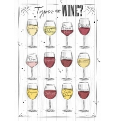 Poster wine wood vector image