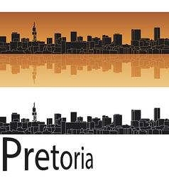 Pretoria skyline in orange background vector image