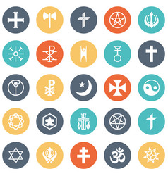 Religious icons set every single icon can vector