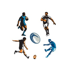 Rugby Player Woodcut Collection vector
