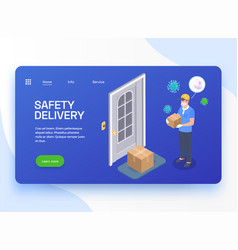 Safe delivery landing page vector