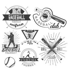 set baseball labels in vintage style vector image