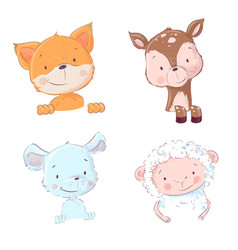 Set cute forest and home animals - sheep vector