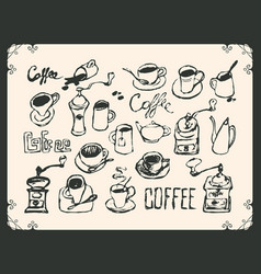 Set drawing utensils for drinking tea and coffee vector