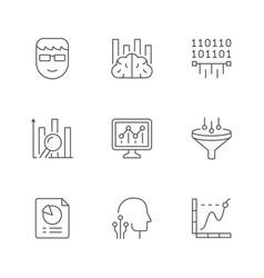 set line icons data analytics vector image