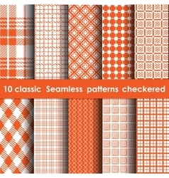 Set of 10 classic seamless checkered patterns vector image