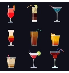 Set of alcoholic cocktails isolated on black vector