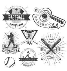 Set of baseball labels in vintage style vector