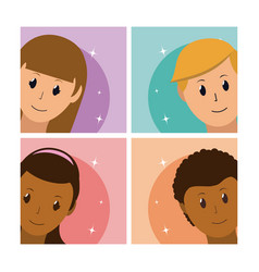 Set of people avatar cards vector