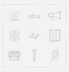 set of tech icons line style symbols with landing vector image