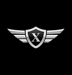 Shield initial letter x wing icon logo vector
