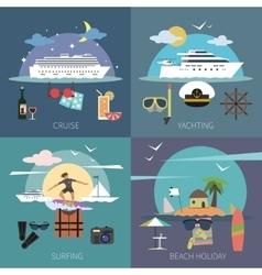 Ship Flat Set vector image