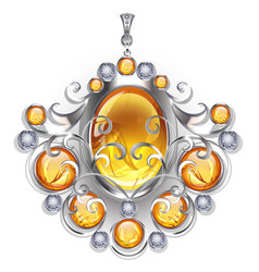 Silver pendant with amber vector