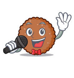 Singing chocolate biscuit mascot cartoon vector