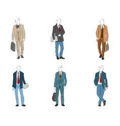 six modern businessmen vector image