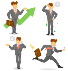 smiling businessman character set vector image