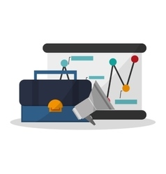 Suitcase and digital marketing design vector