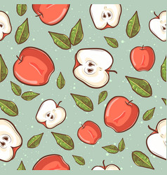 summer tropical seamless pattern with red apples vector image