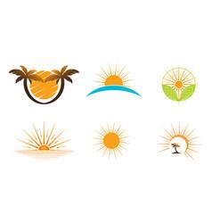 Sun logo design on horizon summer sign vector