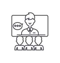 teleconference line icon concept teleconference vector image