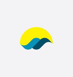 tourism logo icon water wave sun element vector image